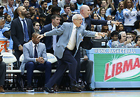CHAPEL HILL, NC - FEBRUARY 25: Head coach Roy Williams of the University of North Carolina tries to get the official's attention during a game between NC State and North Carolina at Dean E. Smith Center on February 25, 2020 in Chapel Hill, North Carolina.