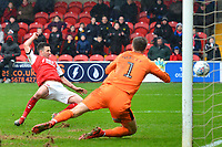 Fleetwood Town's Jason Holt scores his side's first goal  <br /> <br /> Photographer Richard Martin-Roberts/CameraSport<br /> <br /> The EFL Sky Bet League One - Fleetwood Town v Plymouth Argyle - Saturday 16th March 2019 - Highbury Stadium - Fleetwood<br /> <br /> World Copyright © 2019 CameraSport. All rights reserved. 43 Linden Ave. Countesthorpe. Leicester. England. LE8 5PG - Tel: +44 (0) 116 277 4147 - admin@camerasport.com - www.camerasport.com