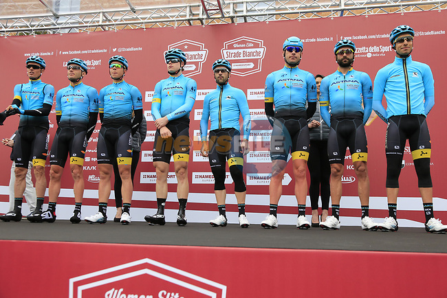 Astana Pro Team at sign on before the start of the 2017 Strade Bianche running 175km from Siena to Siena, Tuscany, Italy 4th March 2017.<br /> Picture: Eoin Clarke | Newsfile<br /> <br /> <br /> All photos usage must carry mandatory copyright credit (&copy; Newsfile | Eoin Clarke)