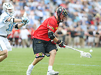 Baltimore, MD - April 28, 2018: Maryland Terrapins Connor Kelly (1) gets the ground ball during game between John Hopkins and Maryland at  Homewood Field in Baltimore, MD.  (Photo by Elliott Brown/Media Images International)