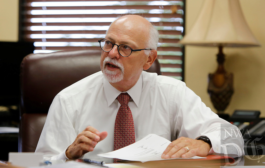 NWA Democrat-Gazette/DAVID GOTTSCHALK  University of Arkansas Chancellor Joseph E. Steinmetz photographed September 9, 2016, in his office on the campus in Fayetteville.
