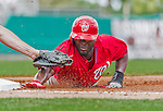 10 March 2015: Washington Nationals outfielder Tony Gwynn is caught off first by a Don Kelly tag during Spring Training action against the Miami Marlins at Roger Dean Stadium in Jupiter, Florida. The Marlins edged out the Nationals 2-1 on a walk-off solo home run in the 9th inning of Grapefruit League play. Mandatory Credit: Ed Wolfstein Photo *** RAW (NEF) Image File Available ***