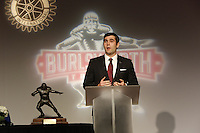 NWA Media/DAVID GOTTSCHALK - 12/8/14 - The 2014 Burlsworth Trophy Monday December 8, 2014 following a  ceremony presented by the Springdale Rotary Club at the Springdale Convention Center.  Justin Hardy of East Carolina University, Mark Weisman,  from the University of Iowa, and Ben Beckwith, from Mississippi State University. Justin Hardy of East Carolina University accepted the 2014 Burlsworth Trophy from Holly Rowe, sports commentator.
