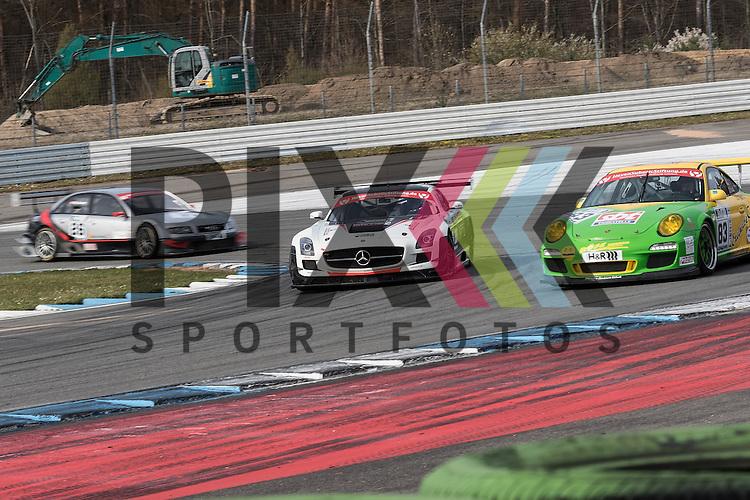 Hockenheim 10.-12. April 2015, BOSCH Hockenheim Historic auf dem Hockenheimring.<br /> <br /> Spezial Tourenwagen Trophy H&amp;R Cup - Mario Hirsch (Mercedes SLS AMG GT3)<br /> und Christian Neubecker (Porsche 997 GT3 Cup)<br /> <br /> Foto &copy; P-I-X.org *** Foto ist honorarpflichtig! *** Auf Anfrage in hoeherer Qualitaet/Aufloesung. Belegexemplar erbeten. Veroeffentlichung ausschliesslich fuer journalistisch-publizistische Zwecke. For editorial use only.