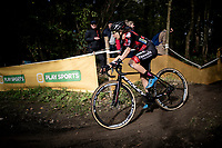 All the way in the back of the race Jolien Verschueren (BEL/Pauwels Sauzen-Bingoal) rides her own tempo. Dead last. Coming back into the sport after brain cancer (and double brain surgery) just a year earlier, her prime objectif is not to win races, but to simply finish and enjoy them...<br /> <br /> Womens Race<br /> 42nd Superprestige cyclocross Gavere 2019<br /> <br /> ©kramon