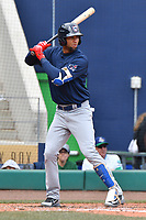 Lourdes Gurriel (19) of the New Hampshire Fisher Cats bats during a game against the Hartford Yard Goats at Dunkin Donuts Park on April 8, 2018 in Hartford, Connecticut.<br /> (Gregory Vasil/Four Seam Images)