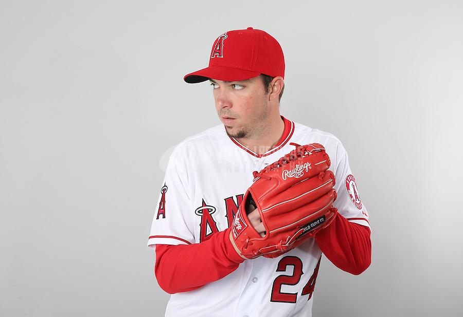 Feb. 21, 2113; Tempe, AZ, USA: Los Angeles Angels pitcher Sean Burnett poses for a portrait during photo day at Tempe Diablo Stadium. Mandatory Credit: Mark J. Rebilas-