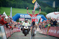first pro victory for young Tim Wellens (BEL/Lotto-Belisol) and a nice one at that: stage winner and new overall race leader in a WorldTour event with 1 more day to go.<br /> <br /> Eneco Tour 2014<br /> stage 6: Heerlen - La Redoute (Aywaille)