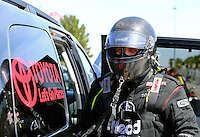 Mar 28, 2014; Las Vegas, NV, USA; NHRA funny car driver Chad Head during qualifying for the Summitracing.com Nationals at The Strip at Las Vegas Motor Speedway. Mandatory Credit: Mark J. Rebilas-