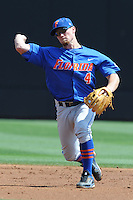 Florida Gators shortstop Nolan Fontana #4 throws to first during a game against the Tennessee Volunteers at Lindsey Nelson Stadium, Knoxville, Tennessee April 14, 2012. The Volunteers won the game 5-4  (Tony Farlow/Four Seam Images)..