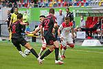 Augsburgs Rani Khedira, Duesseldorfs Valon Berisha #10 und Augsburgs Raphael Framberger #32<br /><br />1. Fussball Bundesliga 33. Spieltag - Fortuna Duesseldorf vs. FC Augsburg 20.06.2020 - <br /><br />(Foto: Sebastian Sendlak / wave.inc/POOL/ via Meuter/Nordphoto)<br /><br />DFL regulations prohibit any use of photographs as image sequences and/or quasi-videos.<br /><br />EDITORIAL USE ONLY<br /><br />National and international News-Agencys OUT.