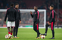 Edward 'Eddie' Nketiah of Arsenal jokes with Marcus McGuane (right) & Chuba Akpom (2nd left) ahead of the UEFA Europa League group stage match between Arsenal and FC Red Star Belgrade at the Emirates Stadium, London, England on 2 November 2017. Photo by PRiME Media Images.