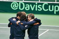 02-02-14,Czech Republic, Ostrava, Cez Arena, Davis Cup Czech Republic vs Netherlands, The Dutch team having a get together<br /> <br /> Photo: Henk Koster