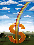 Illustrative image of rainbow passing through dollar sign representing business development