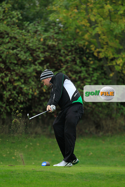 Michael McDermott (Pure Golf Leopardstown) on the 17th tee during Round 3 of The Cassidy Golf 103rd Irish PGA Championship in Roganstown Golf Club on Saturday 12th October 2013.<br /> Picture:  Thos Caffrey / www.golffile.ie