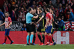 Juventus' Leonardo Bonucci have words with the referee during UEFA Champions League match, Round of 16, 1st leg between Atletico de Madrid and Juventus at Wanda Metropolitano Stadium in Madrid, Spain. February 20, 2019. (ALTERPHOTOS/A. Perez Meca)