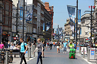 Pictured: St Mary's Street, Cardiff Thursday 25 May 2017<br />Re: Preparations for the UEFA Champions League final, between Real Madrid and Juventus in Cardiff, Wales, UK.