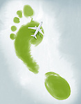 Illustrative image of air plane flying over green footprint representing green travel
