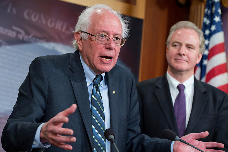 """UNITED STATES - APRIL 14: Sen. Bernie Sanders, I-Vt., left, ranking member of the Senate Budget Committee, and Rep. Chris Van Hollen, D-Md., ranking member of the House Budget Committee, conduct a news conference in the Capitol's Senate Studio to discuss """"Democratic priorities in advance of the Budget Conference Committee,"""" April 14, 2015. (Photo By Tom Williams/CQ Roll Call)"""