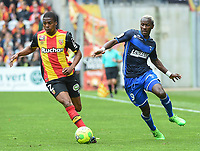 20170415 - LENS , FRANCE : Lens' Jean Kevin Duverne (L) and Auxerre's Mohamed Lamine Yattara (R) pictured during the soccer match between Racing Club de LENS and AJ Auxerre , on the thirty third matchday in the French Dominos pizza Ligue 2 at the Stade Bollaert Delelis stadium , Lens . Saturday 15 April 2017 . PHOTO DIRK VUYLSTEKE | SPORTPIX.BE