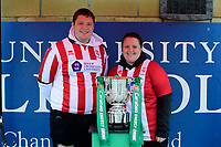 Lincoln City fans with the Carabao Cup in the fan zone prior to the game<br /> <br /> Photographer Chris Vaughan/CameraSport<br /> <br /> The Carabao Cup Second Round - Lincoln City v Everton - Wednesday 28th August 2019 - Sincil Bank - Lincoln<br />  <br /> World Copyright © 2019 CameraSport. All rights reserved. 43 Linden Ave. Countesthorpe. Leicester. England. LE8 5PG - Tel: +44 (0) 116 277 4147 - admin@camerasport.com - www.camerasport.com