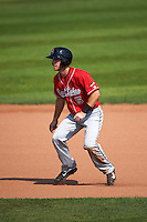 Great Lakes Loons shortstop Nick Dean (5) leads off during a game against the Clinton LumberKings on August 16, 2015 at Ashford University Field in Clinton, Iowa.  Great Lakes defeated Clinton 3-2 in ten innings.  (Mike Janes/Four Seam Images)