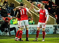 Fleetwood Town's Paddy Madden celebrates scoring his side's equalising goal with Bobby Grant and Gethin Jones<br /> <br /> Photographer Alex Dodd/CameraSport<br /> <br /> The EFL Sky Bet League One - Fleetwood Town v Shrewsbury Town - Tuesday 13th February 2018 - Highbury Stadium - Fleetwood<br /> <br /> World Copyright &copy; 2018 CameraSport. All rights reserved. 43 Linden Ave. Countesthorpe. Leicester. England. LE8 5PG - Tel: +44 (0) 116 277 4147 - admin@camerasport.com - www.camerasport.com