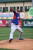 Scott Rice (56) warming up for the New York Mets during a spring training game against the Miami Marlins at the Roger Dean Complex in Jupiter, Florida on March 11, 2015. Miami defeated Mets 7-4. (Stacy Jo Grant/Four Seam Images)