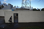 A member of the home team arriving at the Commonwealth Stadium, Meadowbank before the Scottish Lowland League match between Edinburgh City and city rivals Spartans, which was won by the hosts by 2-0. Edinburgh City were the 2014-15 league champions and progressed to a play-off to decide whether there would be a club promoted to the Scottish League for the first time in its history. The Commonwealth Stadium hosted Scottish League matches between 1974-95 when Meadowbank Thistle played there.