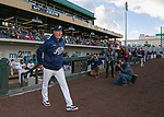 Aces manger Chris Cron takes the field before the opening day game between the Reno Aces and the Albuquerque Isotopes at Greater Nevada Field in Reno, Nevada on Tuesday, April 9, 2019.