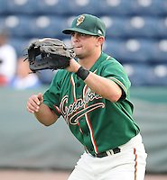 Infielder Joe Bonadonna (1) of the Greensboro Grasshoppers, Class A affiliate of the Florida Marlins, prior to a game against the Greenville Drive on April 26, 2011, at Fluor Field at the West End in Greenville, South Carolina. (Tom Priddy/Four Seam Images)