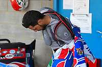 Nicolas Covatti of Poole Pirates struggles with his race suit during Poole Pirates vs King's Lynn Stars, SGB Premiership Shield Speedway at The Stadium on 11th April 2019
