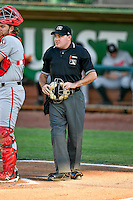 Home plate umpire Jake Botek during the game against the Ogden Raptors and the Billings Mustangs in Pioneer League action at Lindquist Field on August 12, 2016 in Ogden, Utah. Billings defeated Ogden 7-6. (Stephen Smith/Four Seam Images)