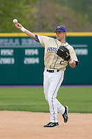 April 27, 2008: University of Washington second baseman Brad Boyer throws to first base during a Pac-10 game against UCLA at Husky Ballpark in Seattle, Washington.