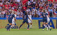 PARIS,  - JUNE 28: Crystal Dunn #19 throws the ball in during a game between France and USWNT at Parc des Princes on June 28, 2019 in Paris, France.