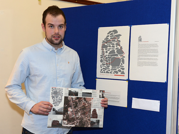 Richard Taaffe with his map pictured at the launch of Ardee Heritage Week. Photo:Colin Bell/pressphotos.ie