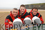 SPLASHING TIME: Members of the Ballybunion Sea and Cliff Rescue Service who are preparing for their Annual River Raft Run on July 8th..L/r. Jim Enright, Omar Fitzell and Mark Enright.