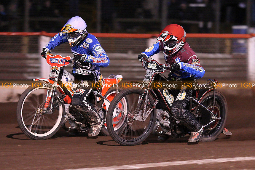 Heat 7: Adam Shields (red) and Claus Vissing (white) - Lakeside Hammers vs Ipswich Witches, Elite League Speedway at the Arena Essex Raceway, Purfleet - 07/05/10 - MANDATORY CREDIT: Rob Newell/TGSPHOTO - Self billing applies where appropriate - 0845 094 6026 - contact@tgsphoto.co.uk - NO UNPAID USE.