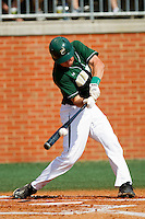 Shane Basen #8 of the Charlotte 49ers connects for an RBI triple against the Missouri Tigers at Robert and Mariam Hayes Stadium on February 27, 2011 in Charlotte, North Carolina.  Photo by Brian Westerholt / Four Seam Images