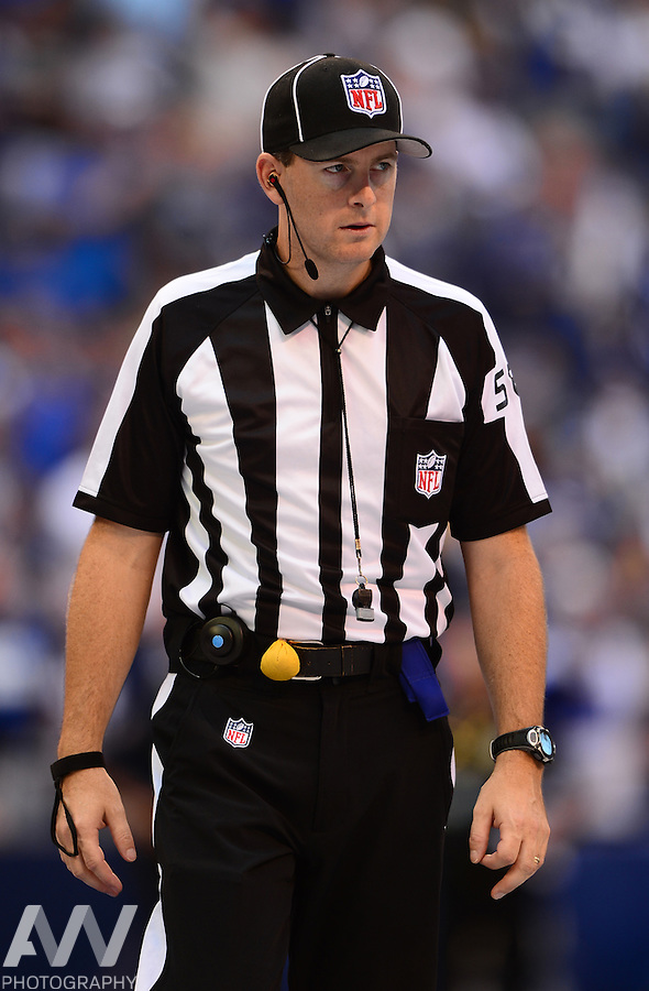 Sep 28, 2014; Indianapolis, IN, USA; NFL side judge Jimmy DeBell (58) during an NFL game between the Tennessee Titans and Indianapolis Colts at Lucas Oil Stadium. Mandatory Credit: Andrew Weber-USA TODAY Sports