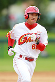 Outfielder Zhang Hongbo (60) of the China National Team after hitting a home run during a game vs. the Houston Astros Instructional League team at Holman Stadium in Vero Beach, Florida September 28, 2010.   China is in Florida training for the Asia games which will be played in Guangzhou, China in November.  Photo By Mike Janes/Four Seam Images