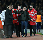 A West Ham picth invader gets escorted out by stewards<br /> <br /> Barclays Premier League- West Ham United vs Manchester United  - Upton Park - England - 8th February 2015 - Picture David Klein/Sportimage
