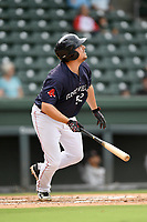 Designated hitter Zach Sterry (52) of the Greenville Drive bats in Game 1 of a doubleheader against the Hickory Crawdads on Wednesday, July 25, 2018, at Fluor Field at the West End in Greenville, South Carolina. Greenville won, 4-1. (Tom Priddy/Four Seam Images)