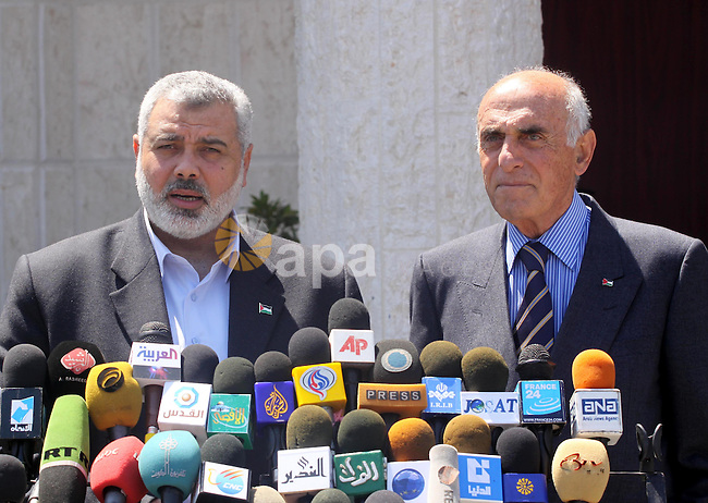 Palestinian Prime Minister in the Gaza Strip, Ismail Haniya delivers speech during a press conference after his meeting with Palestinian businessman, Moneb Al-Masri in Gaza City on May 3, 2010. Photo by Mohammed Asad