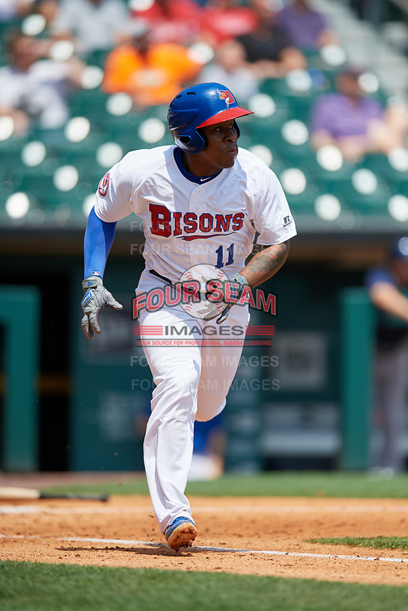 Buffalo Bisons shortstop Gift Ngoepe (11) runs to first base during a game against the Pawtucket Red Sox on June 28, 2018 at Coca-Cola Field in Buffalo, New York.  Buffalo defeated Pawtucket 8-1.  (Mike Janes/Four Seam Images)