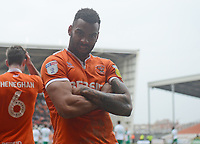 Blackpool's Curtis Tilt celebrates scoring his side's equalising goal to make the score 2-2<br /> <br /> Photographer Kevin Barnes/CameraSport<br /> <br /> The EFL Sky Bet League One - Blackpool v Plymouth Argyle - Saturday 30th March 2019 - Bloomfield Road - Blackpool<br /> <br /> World Copyright © 2019 CameraSport. All rights reserved. 43 Linden Ave. Countesthorpe. Leicester. England. LE8 5PG - Tel: +44 (0) 116 277 4147 - admin@camerasport.com - www.camerasport.com