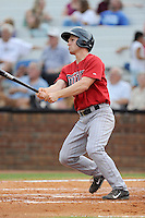 Left field Max Murphy (13) of the Elizabethton Twins bats in a game against the Johnson City Cardinals on Sunday, July 27, 2014, at Howard Johnson Field at Cardinal Park in Johnson City, Tennessee. The game was suspended due to weather in the fifth inning. (Tom Priddy/Four Seam Images)