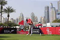 Thomas Bjorn (DEN) on the 1st tee during Round 2 of the Omega Dubai Desert Classic, Emirates Golf Club, Dubai,  United Arab Emirates. 25/01/2019<br /> Picture: Golffile | Thos Caffrey<br /> <br /> <br /> All photo usage must carry mandatory copyright credit (© Golffile | Thos Caffrey)