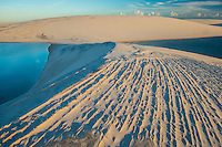 Dune patterns and rainwater lakes, Lencois Maranhenses National Park, Brazil, Atlantic Ocean Rainwater  ponds trapped in white dunes, Lencois Maranhenses National Park, Brazil, Atlantic Ocean