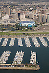 Aerial view of Downtown Long Beach, CA and the Long Beach Sports Arena with Shoreline Marina.